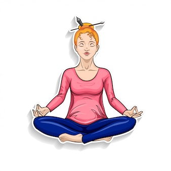 Cartoon girl meditating in lotus pose