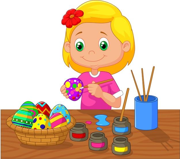 Cartoon girl painting easter egg