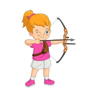 弓でアーチェリーをする漫画の女の子