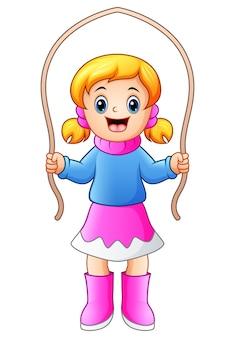Cartoon girl playing jumping rope