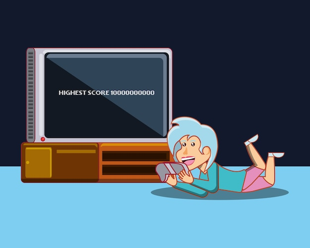 Cartoon girl playing video games lying on the floor over black background