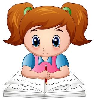 Cartoon girl reading a book