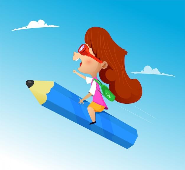Cartoon girl riding pencil