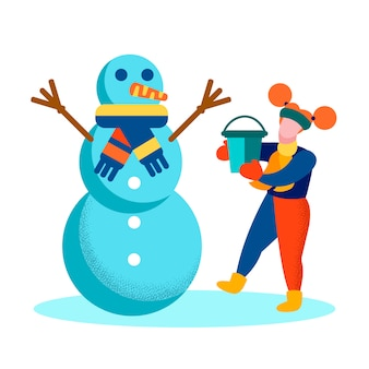 Cartoon girl and snowman happy wintertime card