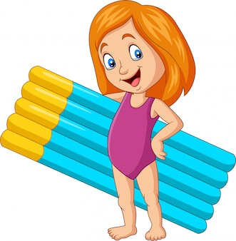Cartoon girl in a swimsuit holding inflatable mattress