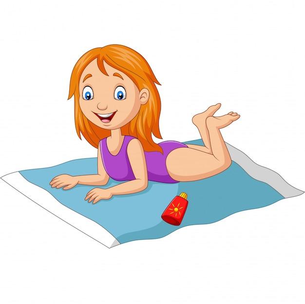 Cartoon girl in a swimsuit lying down on the beach