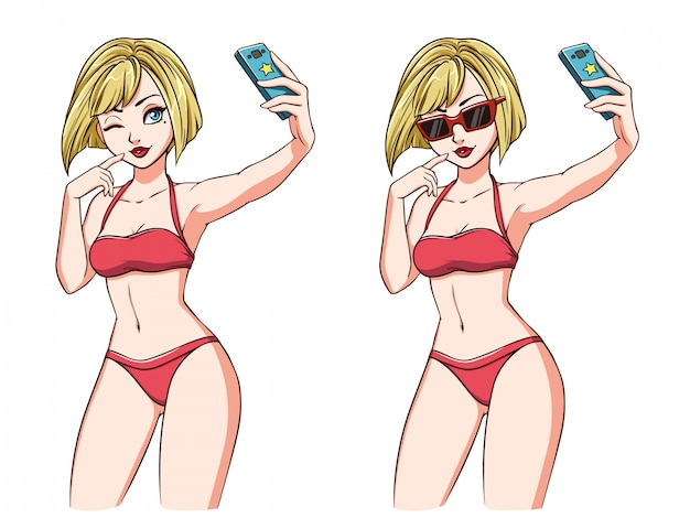 Cartoon girl takes a selfie. blondie girl in red swimsuit and red sunglasses. hand drawn  illustration, isolated on white. can be used for game, cards, magazines, poster, t-shirt.