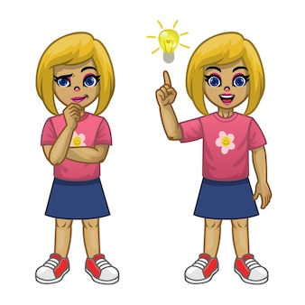 Cartoon girl thinking pose and find the idea