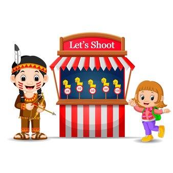 Cartoon girl using indian costume at the circus