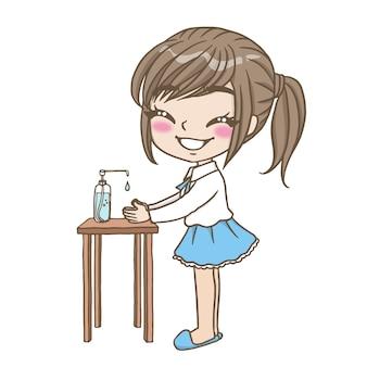 手を洗う漫画の女の子かわいいキャラクター漫画モデル感情イラストクリップアート