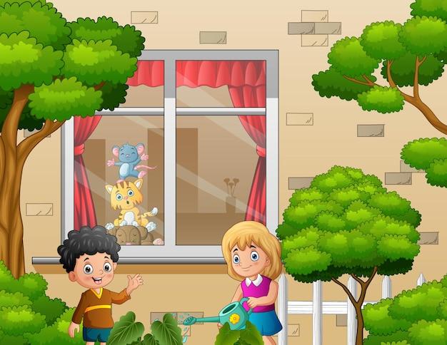 Мультяшная девочка поливает растения во дворе