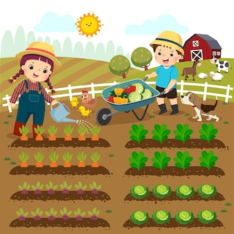 Cartoon of girl watering vegetable plants and boy pushing the wheelbarrow of vegetables on the farm.