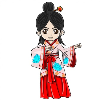 Cartoon girl wearing chinese clothes