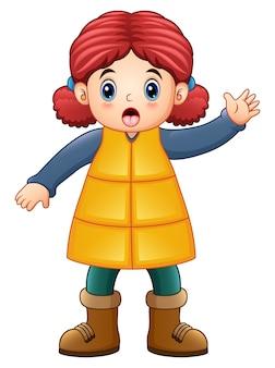 冬の服を着た漫画の少女