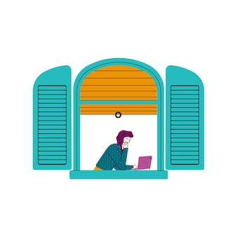 Cartoon girl with laptop in open blue window frame seen from outside view