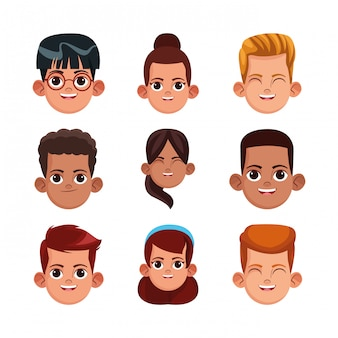 Cartoon girls and boys icon set