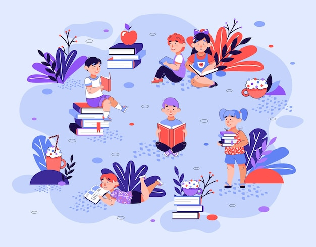 Cartoon girls and boys reading books in summer park