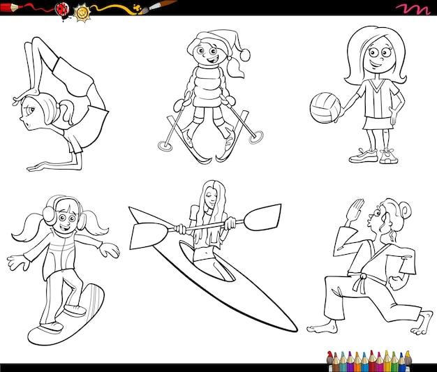漫画の女の子のキャラクターとスポーツセットの塗り絵ページ