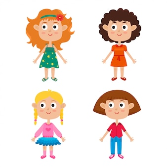 Cartoon girls isolated on white. characters set of stylish kids.