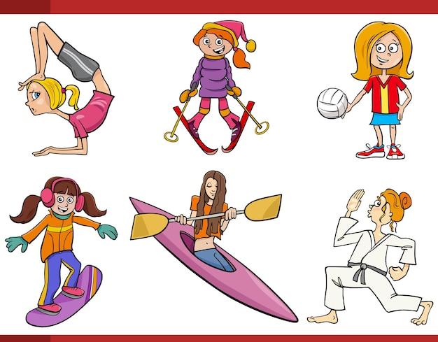 漫画の女の子または女性とスポーツの分野が設定されています
