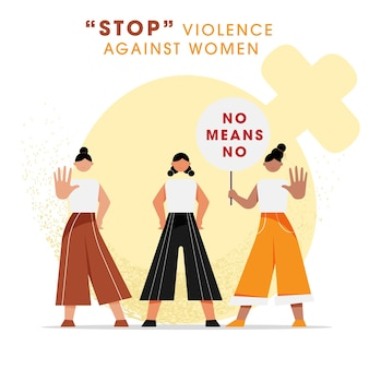 Cartoon girls protesting with hold no means no placard for stop violence against women