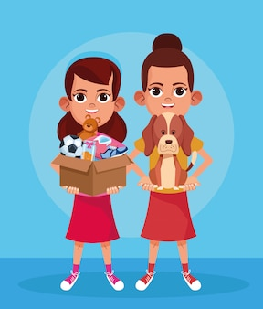 Cartoon girls with cute dog and box with donation stuffs over blue
