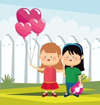 Cartoon girls with heart balloons and chocolate box over white fence