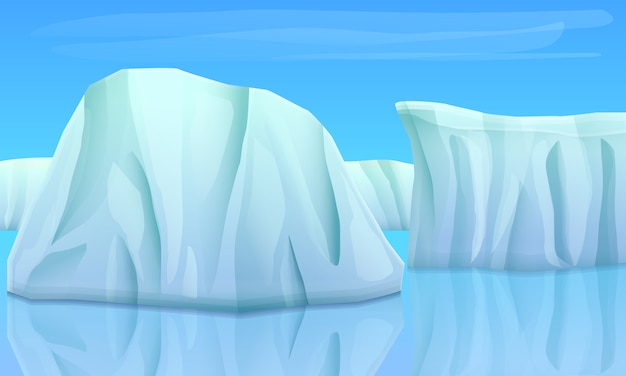 Cartoon glaciers in the ocean, vector illustration