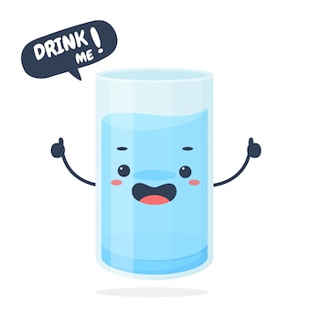 Cartoon glass with a full glass of water hold my thumb and message to drink me.