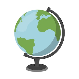 Cartoon globe. schools supplies. isolated vector illustration.