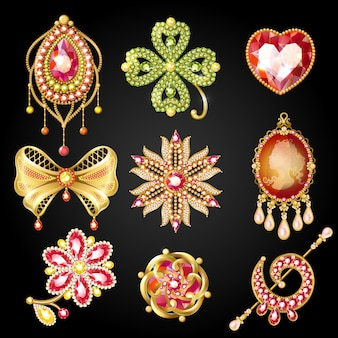 Cartoon glossy gold brooches collection