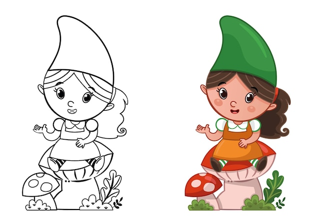 Cartoon gnome character for coloring page activity vector illustration