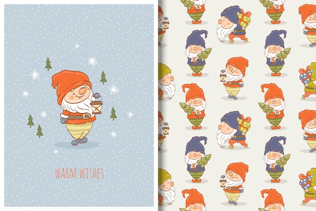 Cartoon gnome hand drawn card and seamless pattern