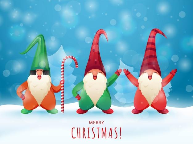 파랑에 크리스마스 나무와 만화 격언 캐릭터