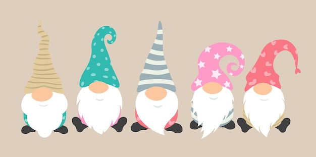 Cartoon gnomes vector icon set cute and funny characters for greeting card of christmas holiday
