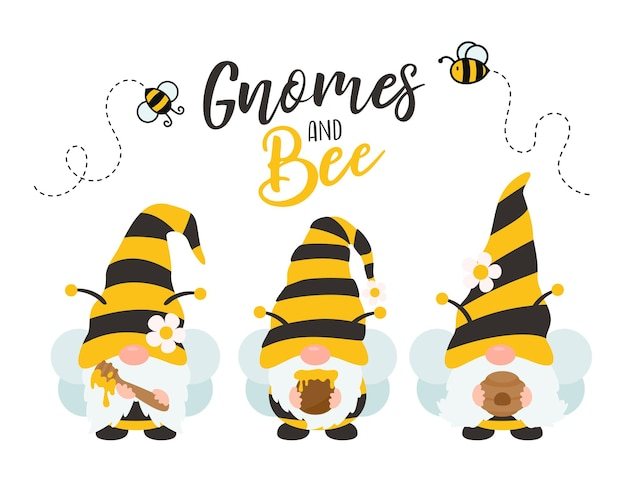 Cartoon gnomes wearing a yellow black bee suit holding sweet honey