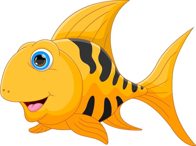 Cartoon gold fish isolated on white background