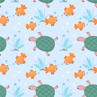 Cartoon gold fish and turtle seamless pattern.