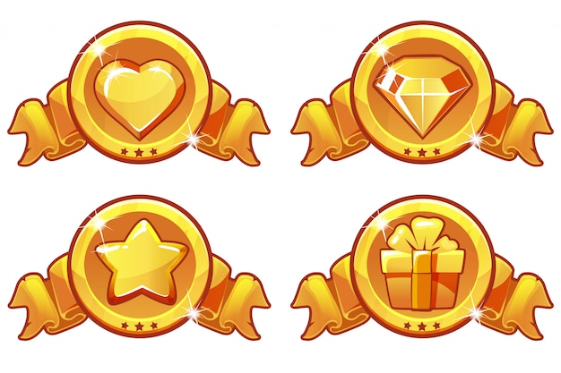 Cartoon gold icon design for game, ui vector banner, star, heat, gift and diamond icons set
