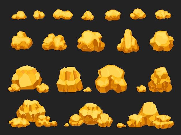 Мультяшные самородки золотого рудника, валуны, камни и сваи. натуральная блестящая твердая золотистая горная куча. набор иконок самородков драгоценностей для игры шахтера вектор. тяжелые украшения или груды сокровищ, изолированные на черном