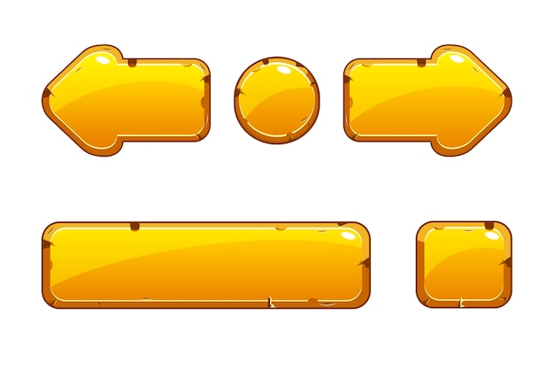 Cartoon gold old buttons for game or web design