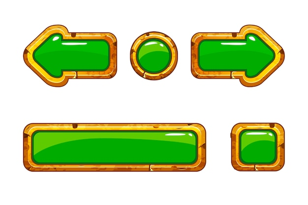 Cartoon gold old green buttons for game or web design