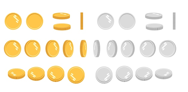 Cartoon gold and silver coins set