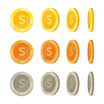 Cartoon golden coins in different positions