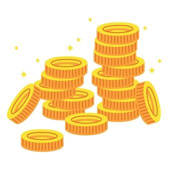 만화 황금 동전 더미 평면 배경 일러스트 레이션