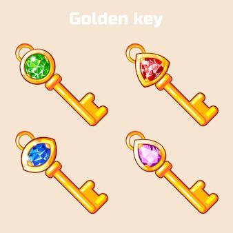 Cartoon golden key with diamond