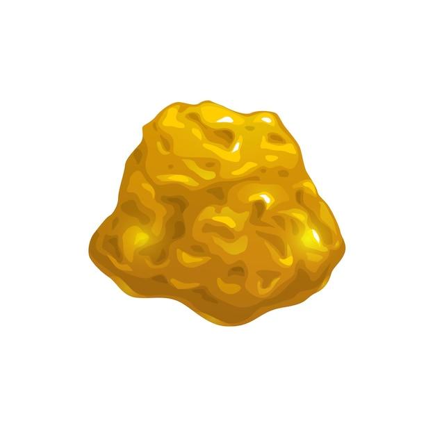 Мультяшный золотой самородок, добыча руды или элемент игрового интерфейса. вектор желтый сверкающий камень, кусок золота, объект пользовательского интерфейса или графический интерфейс для фэнтезийной игры. золотая жила или предмет золотой лихорадки, изолированный блестящий драгоценный камень