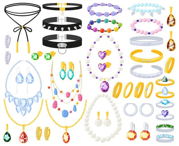 Cartoon golden, silver jewel accessories necklace, bracelet and earrings. women jewellery gold silver vector illustration set. jewelry earrings, rings, necklaces. golden jewel and gold luxury pendant