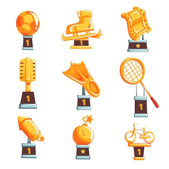 Cartoon golden trophy cups, awards and achievements set of  illustrations