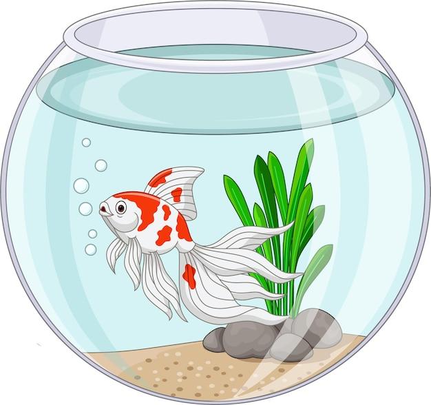 Мультяшная золотая рыбка плавает в аквариуме